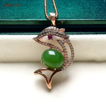 CYNSFJA Real Certified Natural Hetian Jasper 925 Sterling Silver Fine Jewelry Amulets Green Jade Pendant High Quality Best Gifts