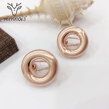 Viennois Rose Gold Color Round French Clip Stud Earrings for Women Earrings Enamel Crafts Earrings Female Fashion Jewelry(China)