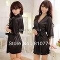 2017 женщин сексуальный пижамы искусственного шелка халат халаты ночная рубашка черного кружева установить искушение платье
