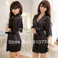 2017 Women's sexy sleepwear faux silk robe bathrobes nightgown lace black set temptation dress