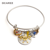 Wonder Woman Charm Bracelet With Armor Tiara Crystals Bangle I Do Freely And With Clear Conscience