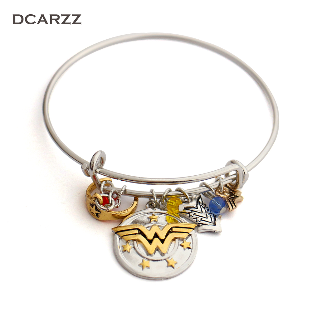 Wonder Woman Charm Bracelet with Armor/Tiara/Crystals BangleI do freely and with Clear ConscienceHand Stamped Letter Bangle