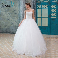 Dressv Wedding Dress Custom All Size Color A Line Strapless Beading Lace Up Back Elegant Tulle White Church Women Wedding Dress