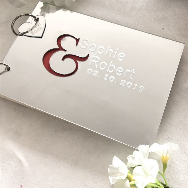 Personalised Mr & Mrs Wedding Guest Book Gift for Couples Silver Mirror Acrylic Engraved Guest Book Custom Signature Book