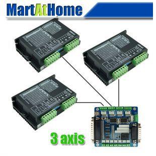 цена на Free Shipping Diy CNC Kit 3 Axis Stepper Drive 2M542 4.2A & 5 Axis Mach3 Breakout Interface Board for CNC Machine #SM564 @CF