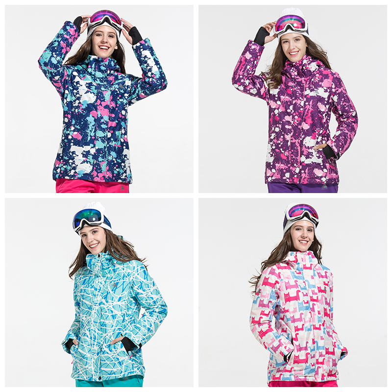 Extra Large Size XXL Special Printing Patterns Ski Thick Jacket Women Windproof Waterproof Winter Outdoor Warm