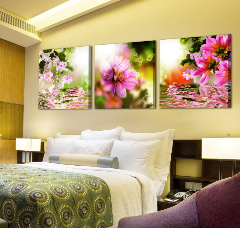 Modern Oil painting canvas posters prints Red Flower living room cafe bar wall art crafts sticker home decoration SYP-0067