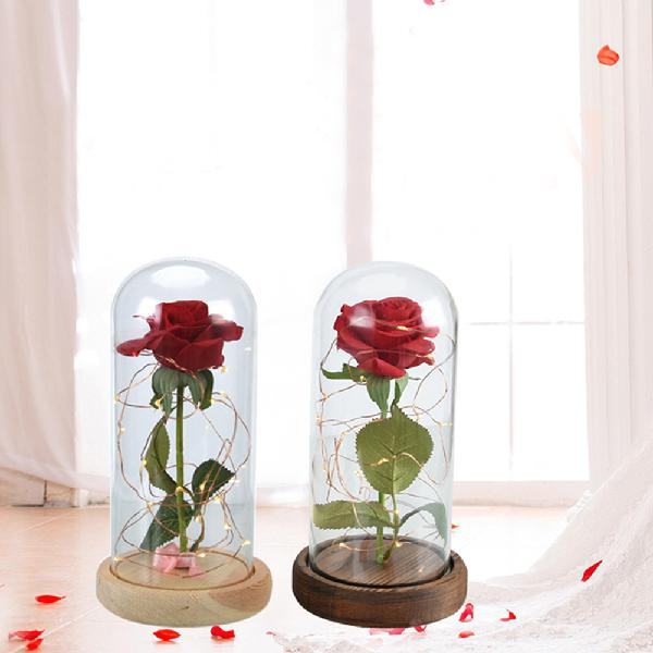 Adeeing Pretty Luminous Preserved Flower Gl Dome With Wooden Pedestal Home Wedding Decoration Gift In Artificial Dried Flowers From Garden On