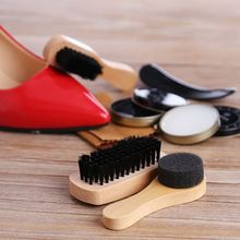 Shoe Shine Care Kit Polish Cleaning Brushes Sponge Cloth Travel Set With Case Portable Case Set Neutral Polishing Tool To Father все цены