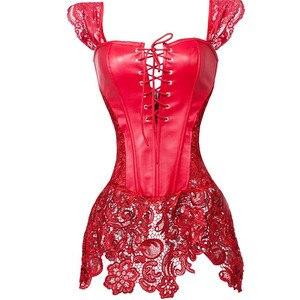 Image 1 - Sexy Frauen Gothic Korsett Bustier Kleid Faux Leahter Spitze Strap Taille Cincher Steampunk Shaper Unterwäsche Dessous Rot Plus Größe