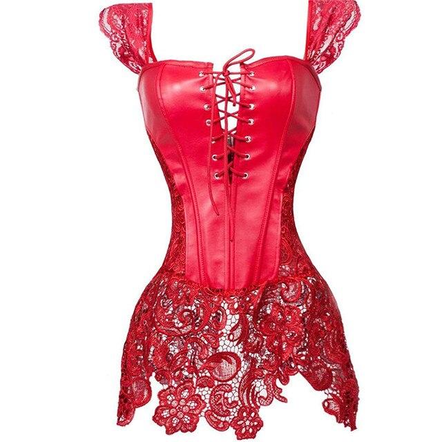 Sexy Frauen Gothic Korsett Bustier Kleid Faux Leahter Spitze Strap Taille Cincher Steampunk Shaper Unterwäsche Dessous Rot Plus Größe
