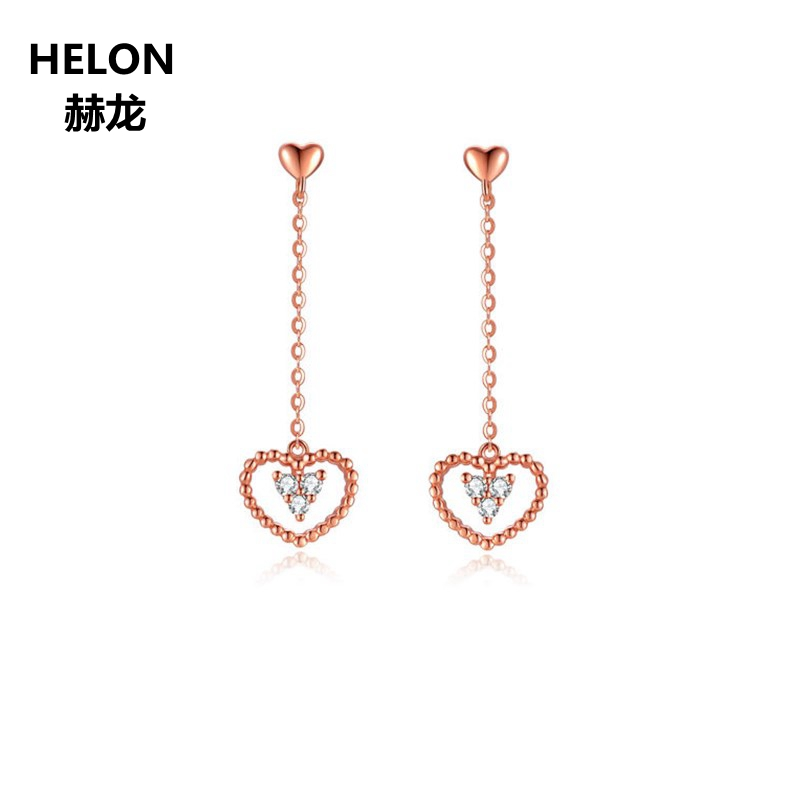 Solid 18k Rose Gold Women Drop Earrings Engagement Wedding Fine Earrings AAA Graded Cubic Zirconia CZ yoursfs brand luxury wedding engagement rings for women anel ballshape austria crystal 18 k rose gold plated aaa cubic zirconia g