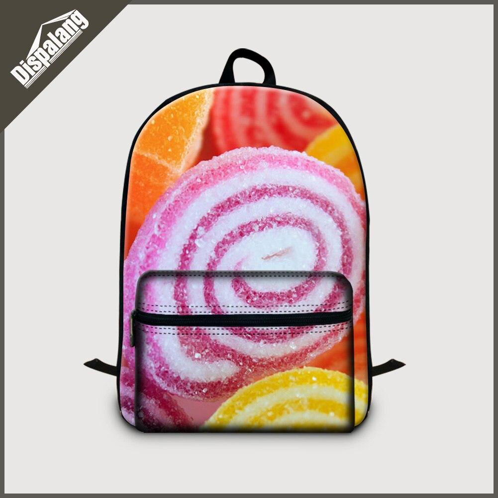 Dispalang vintage womens laptop backpacks children rucksack canvas female travel back pack 3D candy fruits school bags daypack