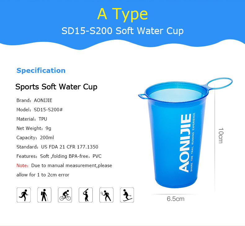 Foto of type water's flask folding TPU for sport. Collapsible flask of water 500ml for hiking