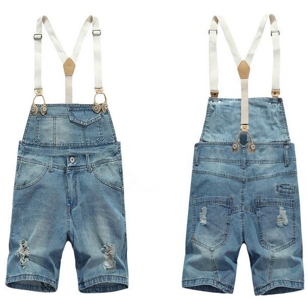 Shorts Denim Bib Overalls Men Summer Style 2016 Male Denim Jumpsuit Ripped Jeans Coverall Blue ...