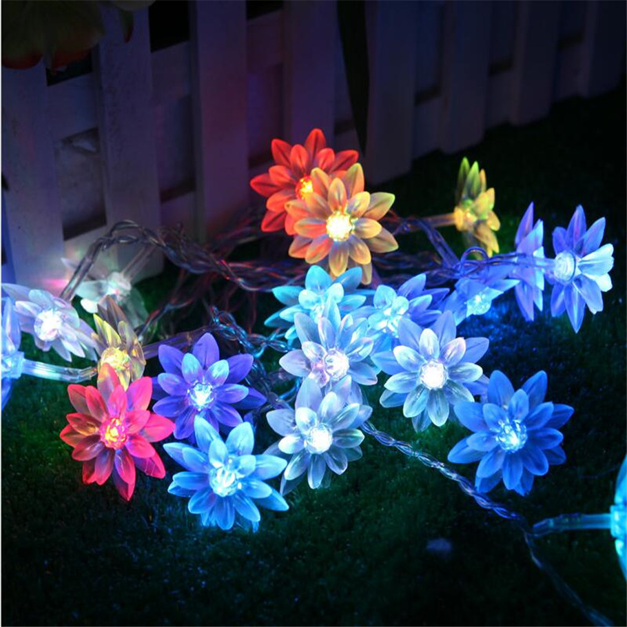 10m 100 Led Lotus Flowers String Fairy Lights Christmas Garland