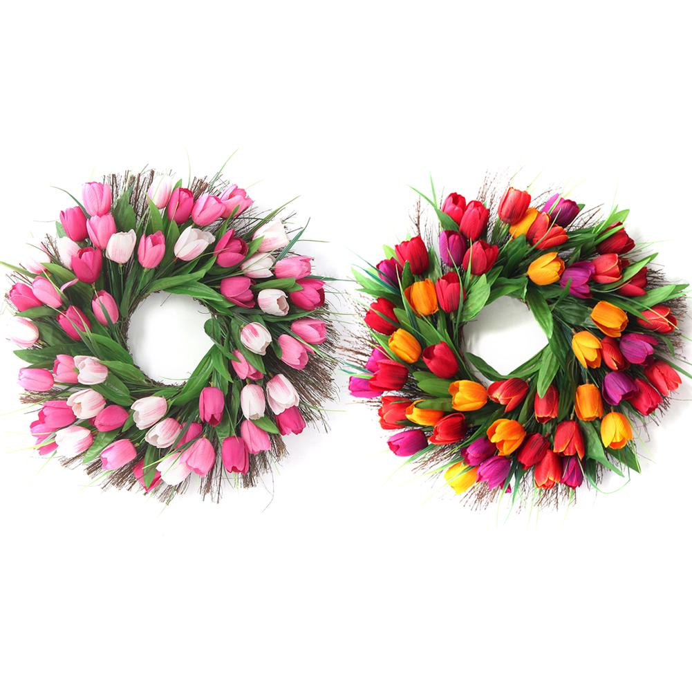 Tulip Wreath Door Wreath Floral Twig Door Wreath Spring Wreath For Front Door Home Decoration Supplies