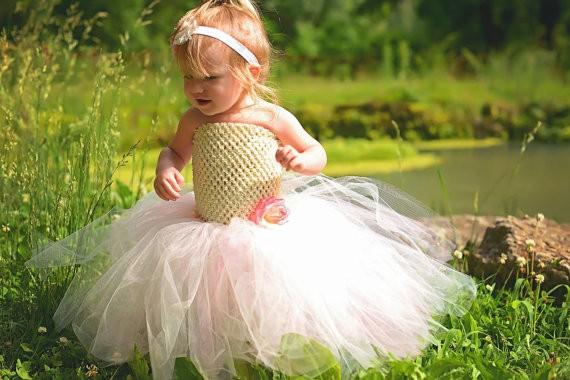 Ivory and Pink Flower Girl Wedding Tutu Dress1