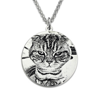 Pet Photo Engraved Necklace Custom Sterling Silver Made Picture Necklace Photo Engraved Jewelry