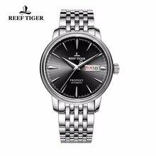 Reef relógio tiger/t, relógios com data, dia inteiro, aço inoxidável, relógios automáticos, rga8236