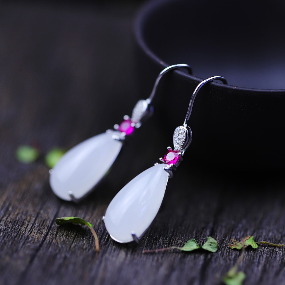 Hot Sale Natural Gemstone Jade 925 Sterling Silver Ethnic Drop Long Earrings for Women Fine Jewelry Earrings Set Earings hot sale ethnic floral pattern pashmina for women