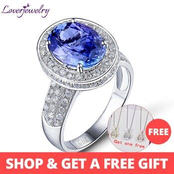 78b0d68d8607 LOVERJEWELRY anillos increíbles ovalados 9x12mm 18kt oro blanco diamante  AAA tanzanita compromiso señora anillo buena calidad