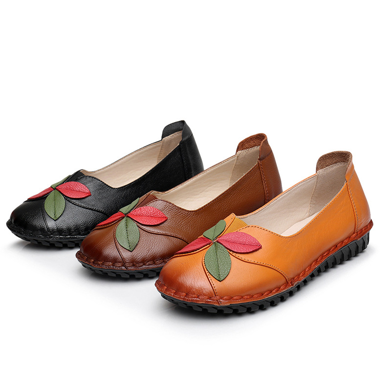 Cuir De Vache À Pâte Molle Chaussures Plates WnRexD