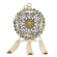 NEW Dress Diamonds Floral Luxury Handbags Women Bags Designer Round Circle Evening Bags Clutch Bag Female Purse Wedding Wallet