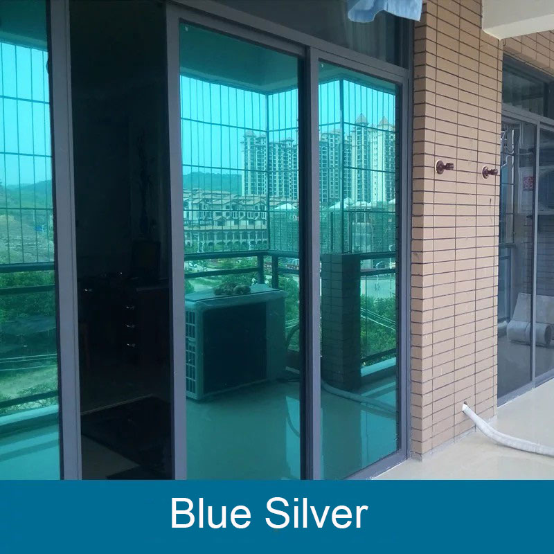 Solar Mirror Blue Silver Window Film Anti UV Reflective One Way Privacy Adhesive Home Office Bedroom Decor window paper 60 100cm in Decorative Films from Home Garden