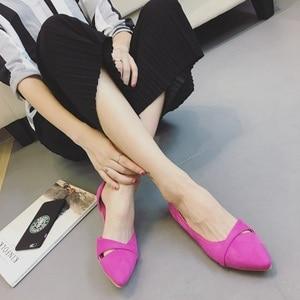 Image 5 - BEYARNEWoman Simple Lesisure Shoes For Walking No Heel Slip on Shallow Toe Flock Fashion Zapatos Plus Size35 46E740