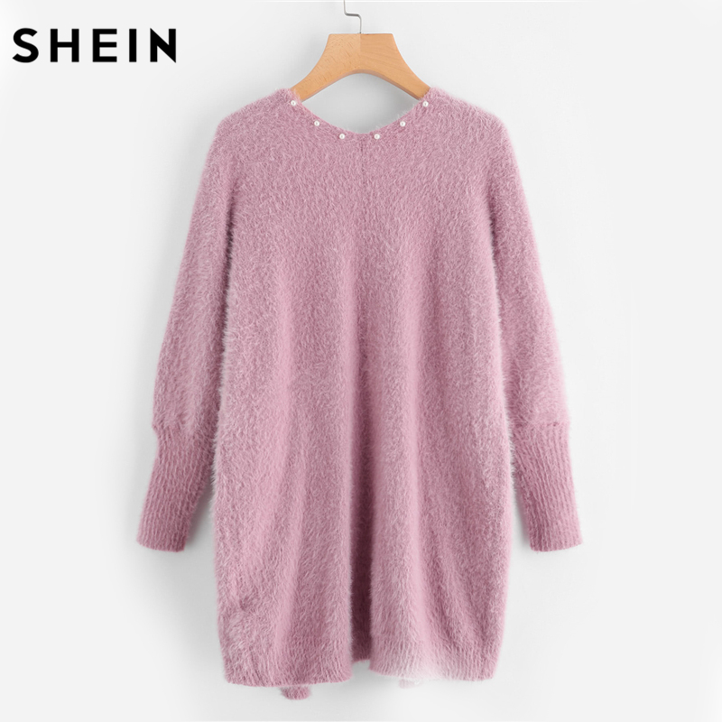 SHEIN Pearl Beading Pocket Front Fuzzy Sweater Coat Pink V Neck ...