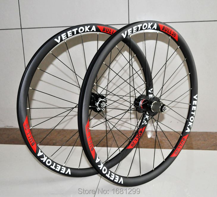 2015 Newest VEETOKA 26 inch 30mm clincher rim Mountain bike matt UD full carbon fibre bicycle wheelset 26er MTB parts Free ship 01c734450