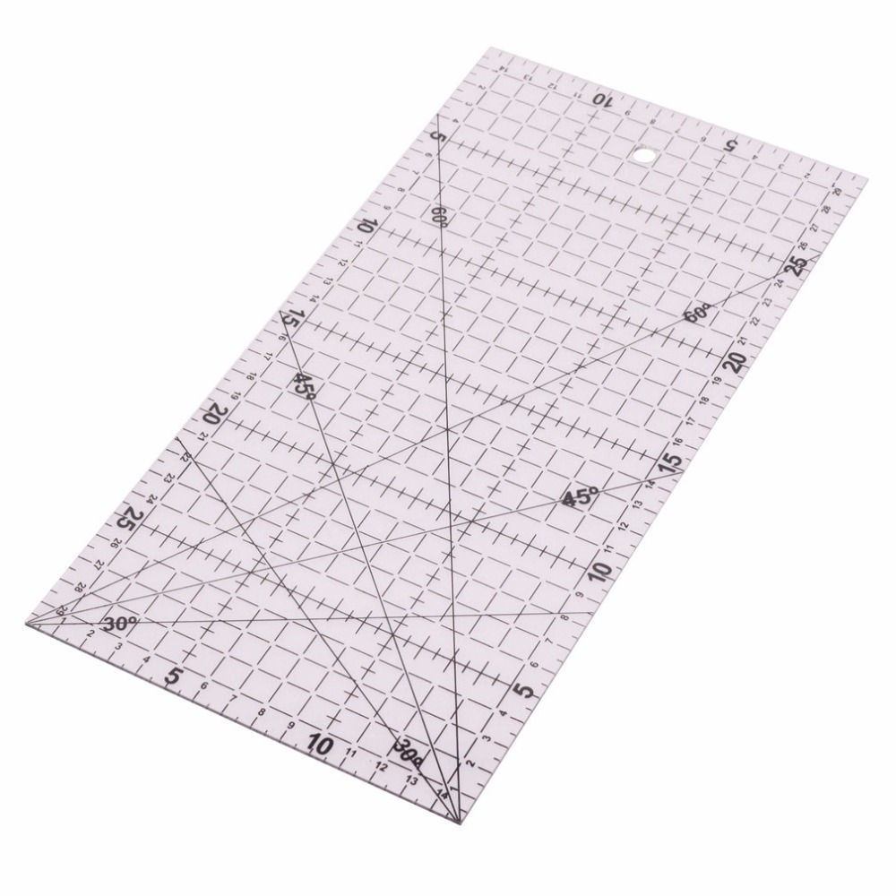 1 Pcs 30 * 15*0.2cm School Office Student Drawing Ruler Patchwork Ruler Acrylic Transparent DIY Hand Sewing Tools Rulers