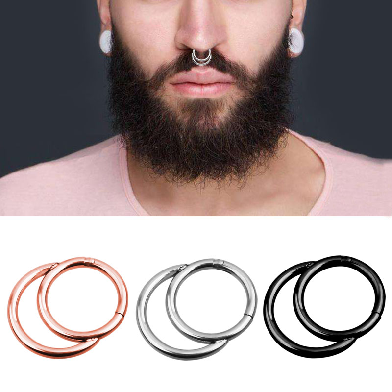 Double Layers 16g Steel Clicker Segment Nose Hoop Rings 1 2 8mm