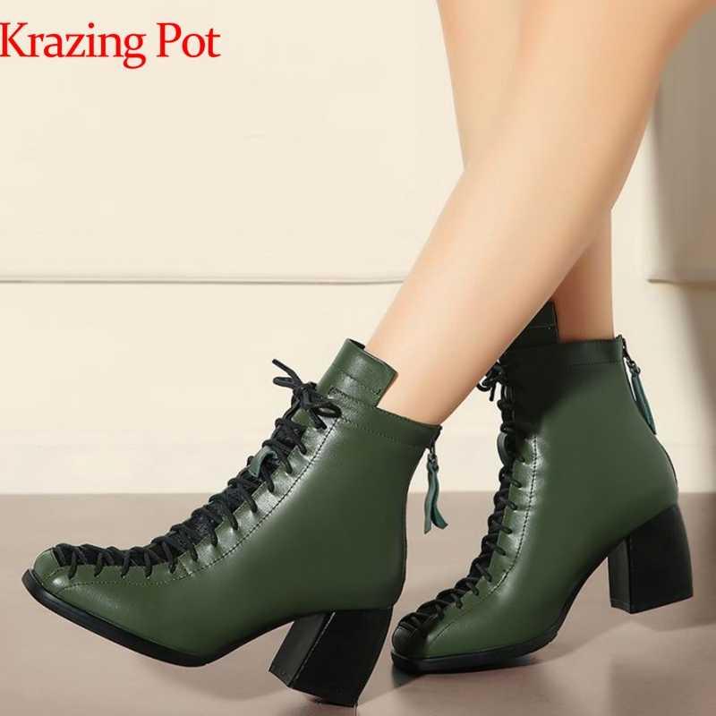 2019 Marka Kış Ayakkabı Moda Kare Ayak dantel-up Hakiki Deri Katı Çıplak Kadın yarım çizmeler Kalın Topuk Ayakkabı Rahat çizme L74