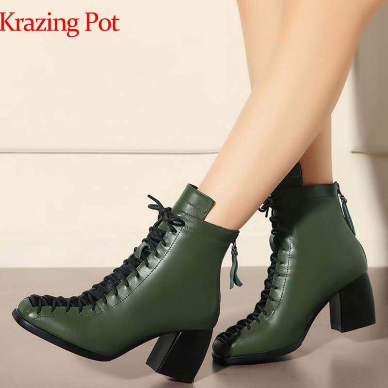 2019 Brand Winter Shoes Fashion Square Toe Lace-up Genuine Leather Solid Nude Women Ankle Boots Thick Heel Shoes Causal Boot L74 image