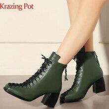 2020 מותג חורף נעלי אופנה כיכר הבוהן שרוכים עור אמיתי מוצק עירום נשים קרסול מגפי העקב עבה נעליים סיבתי אתחול L74