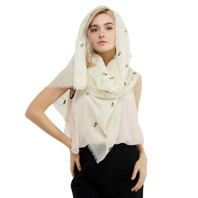 купить 1PC 2017 Summer New Design Fashion Polyester Cotton Women Long Scarf Soft Woman New Leaf Print Cotton Viscose Pashminas Shawl дешево