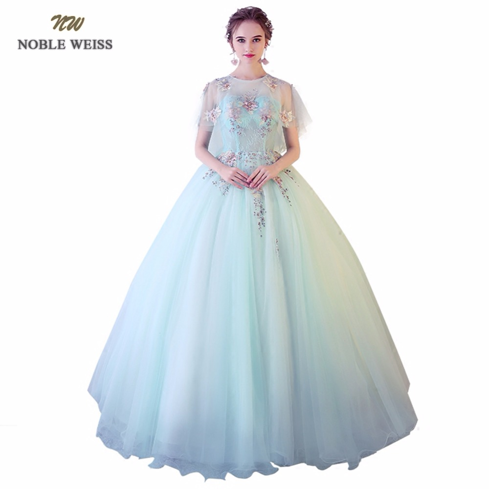 NOBLE WEISS Sexy Light Green Quinceanera Dresses Appliques Lace Tulle Ball Gown Floor Length Formal Prom Dress