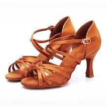 BDS211 ร้อนขายส้น 7.5/5.5 ซม.ผ้าไหมซาติน Latin Ballroom BD เต้นรำละตินรองเท้าผู้หญิงรองเท้าเต้นรำ