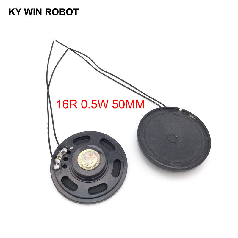 Active 2pcs/lot New Ultra-thin Toy-car Horn 16 Ohms 0.5 Watt 0.5w 16r Speaker Diameter 50mm 5cm With Wire Passive Components