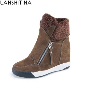 2019 Fashion Women Casual Shoes Winter Platform Wedge Ankle Boots Height Increasing Flock Sneakers Warm Fur Zipper Snow Boots camel european winter thermal women s snow boots fur tassel warm boots