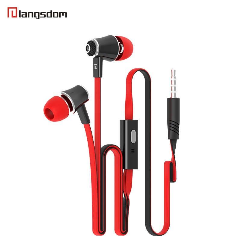 Langsdomスポーツsweatproof有線in-耳イヤホンJM21 ポータブルゲームヘッドセットの低音イヤホンで音楽のためのマイクMP3
