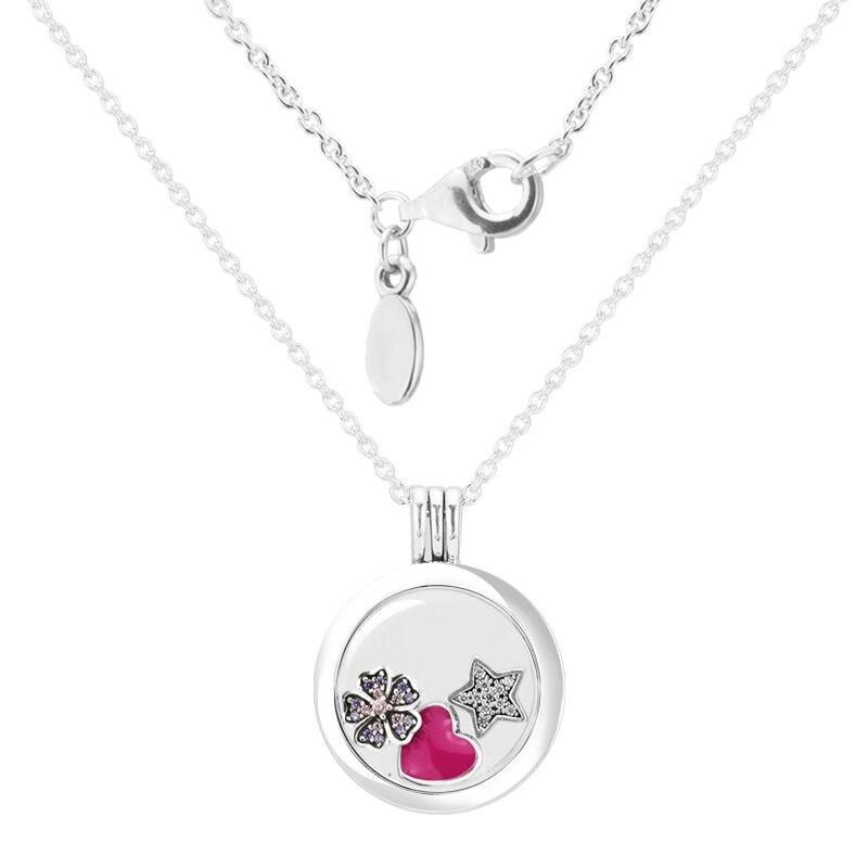 Authentique 925 Sterling-argent-bijoux grand pendentif médaillon flottant collier avec 3 parties livraison gratuite FLN028G