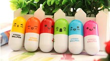New Office gift pen Creative Retractable Ball  cartoon Telescopic emotion pills Pen 3pcs/lot