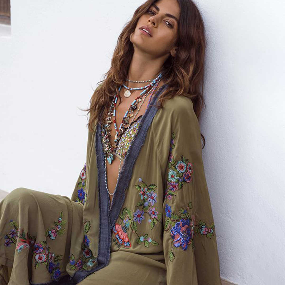 01a722cb8f ... National Boho Kimono Women 2019 Summer Long Sleeve Floral Embroidery  Long Cardigan Jacket Beach Wear Hippie ...