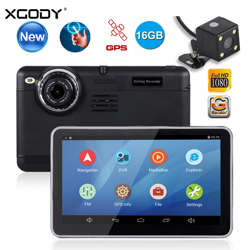 все цены на XGODY D6 7 Inch Car DVR Dual Lens GPS Navigation With Rearview Mirror Camera 1920x1080 Android 4.4 Video Recorder Dash Cam WiFi онлайн
