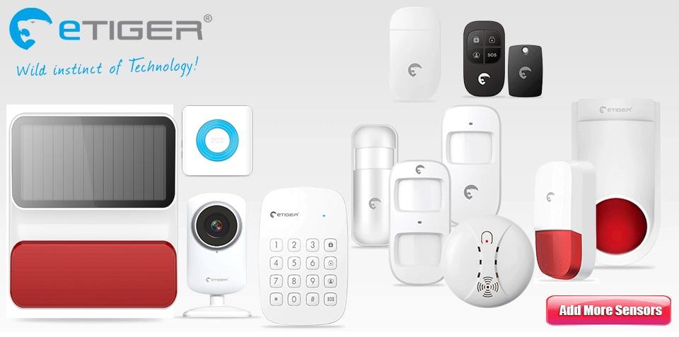 Wireless ETIGER Alarm Sensors & Accessories Door Sensor Motion Sensor Smoke Sensor  Indoor Outdoor Solar Power Alarm Siren