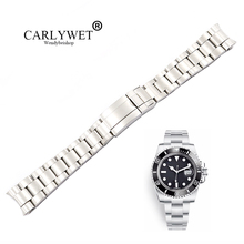 цена на CARLYWET 20 21mm Wholesale Silver Brushed 316L Solid Stainless Steel Watch Band Belt Strap Bracelets For Submariner GMT