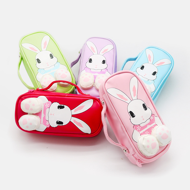 1pc 3D Rabbit Cute Creative EVA Pencil Case Canvas Pencil Bag Pen Box Stationery School Supplies Gift Multilayer